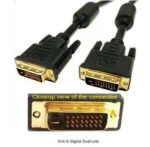 Gold-Plated-DVI-D-Digital-Dual-Link-Cable-4-9Gbps-24-Plus-1-Pin-6-Feet-Black