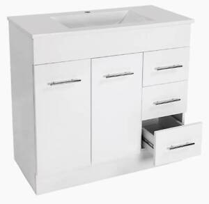 900mm Polymarble Top + 2 Pack Gloss White Vanity Cabinet Paradise Campbelltown Area Preview