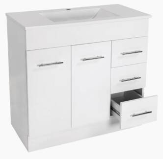 900mm Polymarble Top + 2 Pack Gloss White Vanity Cabinet