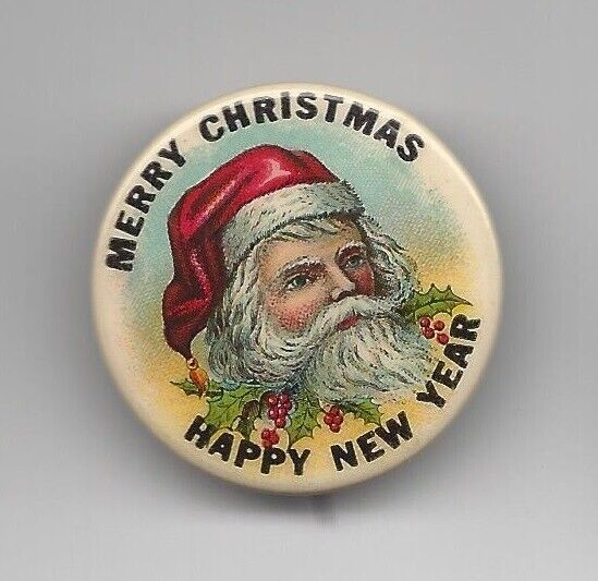Merry Christmas Happy New Year Santa St. Nick advertising pin button