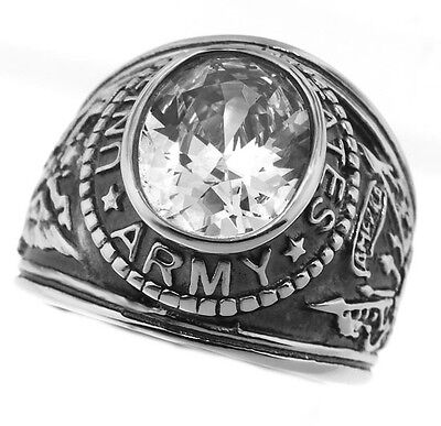 Clear April Stone US Army Military Silver Stainless Steel Mens Ring