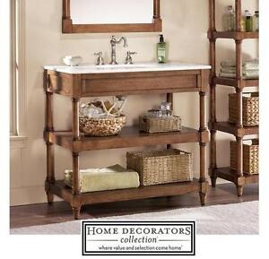 "NEW HDC MONTAIGNE 37"" VANITY COMBO - 123735070 - HOME DECORATORS COLLECTION WEATHERED OAK CABINET MARBLE TOP VANITIES..."