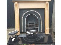 Complete gas fire, marble hearth, cast iron back plate and wooden surround (will sell in parts)