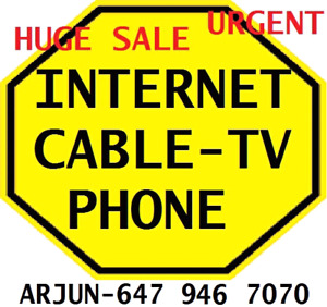 V.I.P TV PACKAGE + UNLIMITED INTERNET + PHONE $109, INTERNET $39