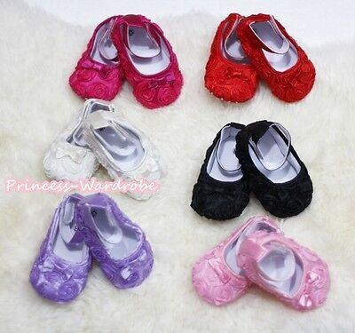 Rose flower Girl Petti Crib Soft Schuh Plain Style 0-18monat (Flowergirl Schuhe)