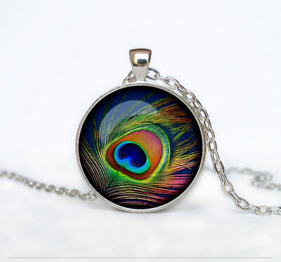 Peacock Necklace Feather Tibet silver Cabochon glass pendant chain Necklace