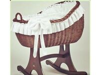 Bespoke wicker and wooden baby crib/cradle