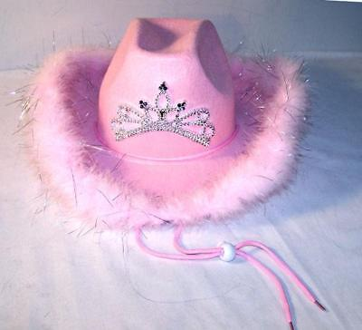 Pink Cowboy Hats (PINK LIGHT UP TIARA FEATHER rodeo COWBOY party HAT tierra cowgirl hats new)
