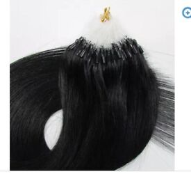 Easy fit black Micro ring hair extensions