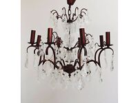 8 bulb Bronze Chandelier with multiple drops