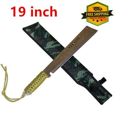 "19"" Stainless Steel Flat Head Full Tang Chopper Machete Sword Fixed Blade Knife"