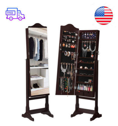 lockable standing jewelry cabinet armoire with full