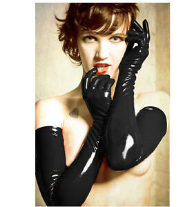 Sexy Gloves Womens Adult Wet Look Latex PVC Leather Fetish Costume Accessory