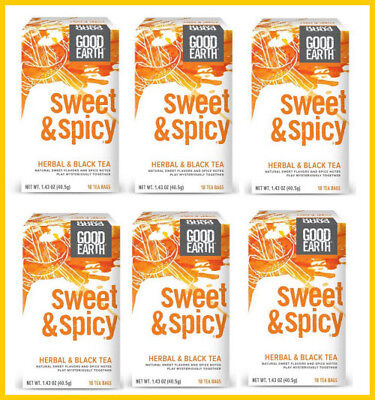 Good Earth Sweet and Spicy Herbal and Black Tea, 18 Count Tea Bags (Pack Of 6) - Good Earth Herbal Tea