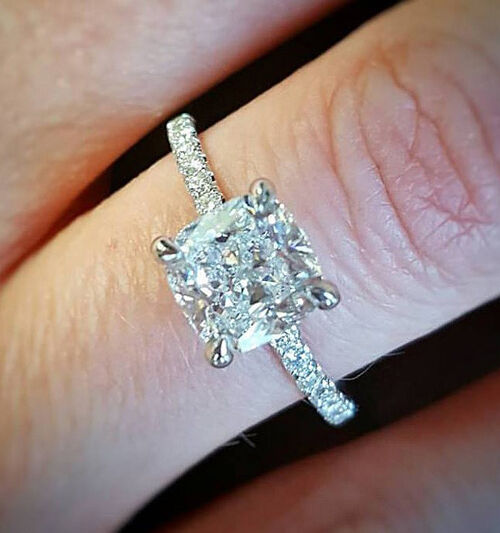 Real 1.50 Ct Cushion Cut Diamond Prong & U-Set Engagement Ring F,VS2 GIA 14K WG