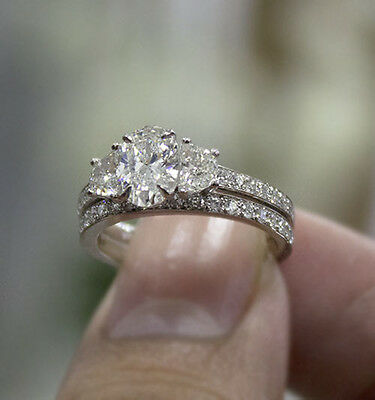 2ct. Natural Oval Cut 3-Stone Half Moon Pave Diamond Engagement Ring Set GIA 1