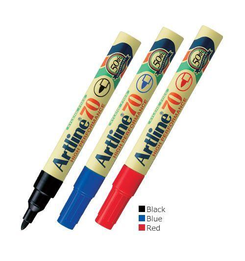 12x Artline Permanent Marker 70 (EK-70) Black/Blue/Red Bullet Point