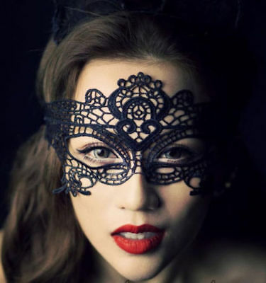 Damen Spitze Maske Halloween Masquerade Ball Halbschuhe Sexy Kostüm ()