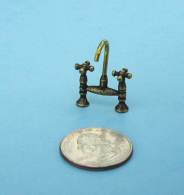 Dollhouse Miniature Kitchen/Bath Faucet & Taps Assembly in Antique Brass WCHW50B