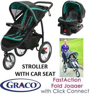 GRACO FASTACTION FOLD JOGGER CLICK CONNECT WITH INFANT CAR SEAT - TEAL/BLACK