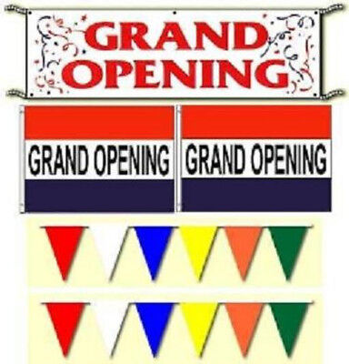 Grand Opening Banner Flags Pennants Sign Package. Free Same Day Ship.