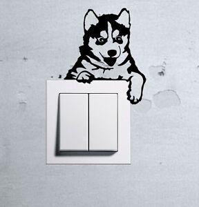 Cute Dog Husky Baby Pet light switch funny wall decal vinyl stickers j - Wilkowice, Polska - Zwroty są przyjmowane - Wilkowice, Polska