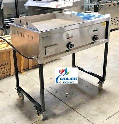 New 41 Taco Grill Griddle Cart 2 Burner Comal Asada Burger Pollo Model G24w1