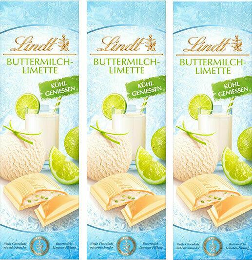 Lindt SommerTafeln Eis Buttermilch Limette Weisse Schokolade 100 gr. x 3