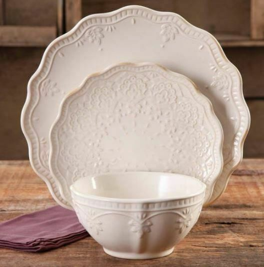 The Pioneer Woman Farmhouse Lace 12-Piece Dinnerware Set, Li