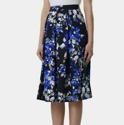 Tahari ASL Womens Sz 4 Black Blue Floral Printed Pleated A-line Midi Skirt