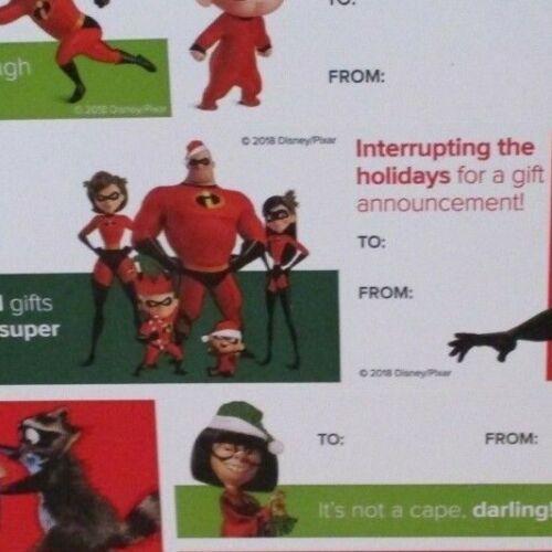 DISNEY MOVIE CLUB DMC HOLIDAY CHRISTMAS STICKER GIFT TAG SHEET THE INCREDIBLES
