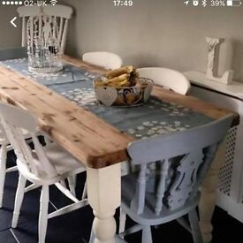 Shabby Chic Farmhouse Table 6 chairs