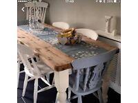 Shabby Chic Farmhouse Table 6 chairs