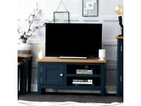Available today New built navy blue and oak Small TV unit SALE £179 W90xD38xH45cm