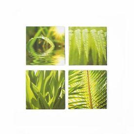 Graham & Brown green leaf quad printed canvas
