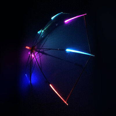 Light-Up High-Quality LED Flashing Colorful Transparent Umbrella with Flashlight ()