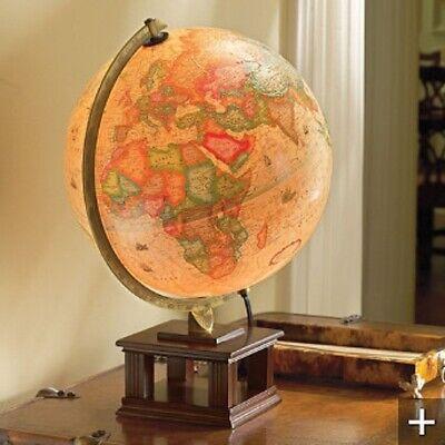 "Frontgate Retired Frank Lloyd Wright-Style Illuminated Desk Globe-Electric-18"" T"