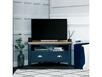 Available today New built navy blue and oak Corner TV SALE £199 W90xD45xH48cm
