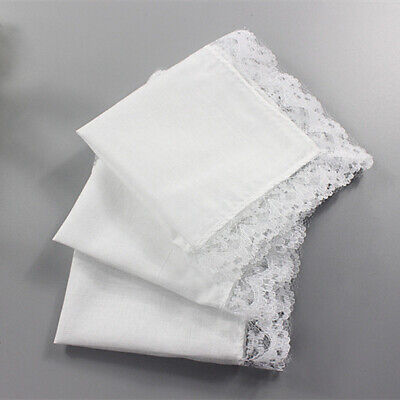 1/5Pcs Ladies Wedding Handkerchief with Lace White Cotton Hanky Drawing Create