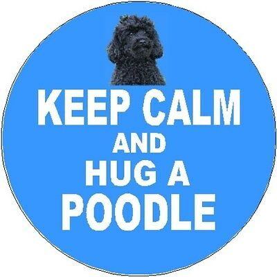 2 Poodle (Black) Dog Car Stickers (Keep Calm & Hug) By Starprint