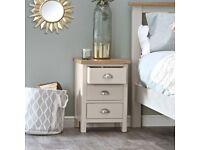 Available NOW New built grey and oak 3 drawer Bedside SALE £109
