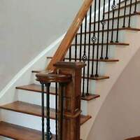 Oak and Maple Staircase, Rod Iron & Glass Railings