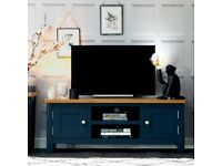 Available today New built navy blue and oak Large TV unit SALE £219 W120xD38xH45cm
