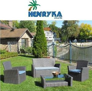 NEW* 4 PC HENRYKA WICKER PATIO SET PATIO FURNITURE BLUE 114295435