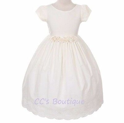 Girls boutique cotton ivory dress 10 12 NWT flower girl communion Easter