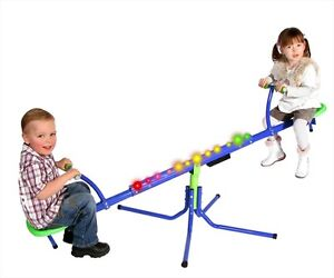 OZBOZZ BLUE COSMIC LIGHT-UP ROTATING SEE SAW KIDS CHILDREN GARDEN SEESAW NEW