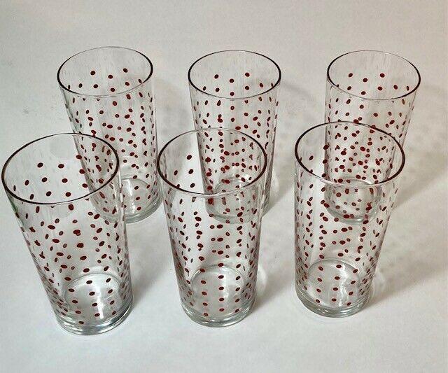 Vintage MCM Libbey Red Polka Dot 20 oz. Drinking Glasses Set of 6