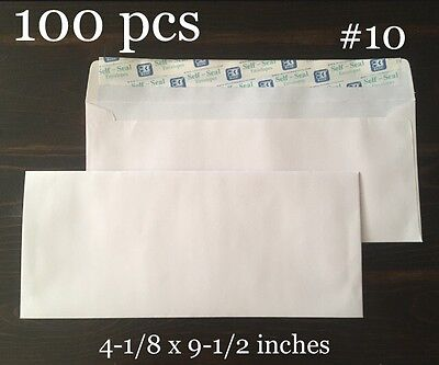 90 Ct Envelopes 10 White Mailing Letter 4-18 X 9-12 Self-seal Security
