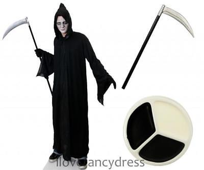 GRIM REAPER COSTUME SCYTHE AND FACE PAINT DEATH HALLOWEEN FANCY DRESS WRAITH  - Halloween Grim Face