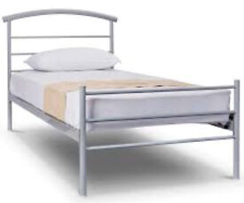 Single Silver Metal Bed Frame & free Mattress CHEAP!